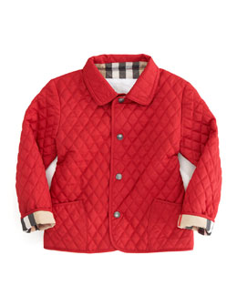 Burberry Quilted Jacket, Red, 6-18 Months