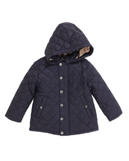 Burberry Lightweight Quilted Jacket with Hood, Navy, 2Y-3Y