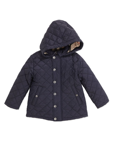 Lightweight Quilted Jacket with Hood, Navy, 2Y-3Y