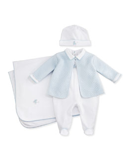 Kissy Kissy Baby Pram Two-Piece Jacquard Footie & Jacket Set, White/Pink