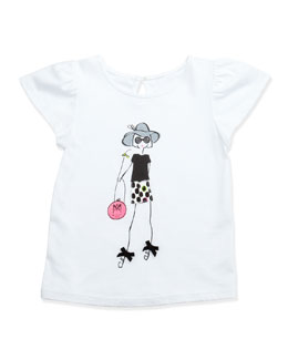 Milly Minis Milly Girl Flutter-Sleeve Tee, White