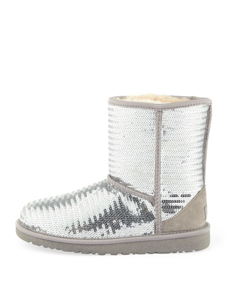 Kids Sparkles Classic Short Boot, Silver, 5Y-6Y