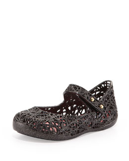 Melissa Shoes Mini Melissa + Campana Zig Zag IX Jelly Mary Jane, Black