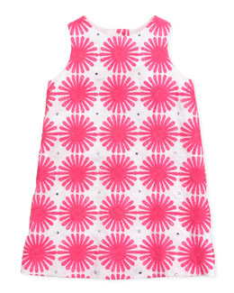 Milly Minis Flower Power Linen Shift Dress, Pink, Sizes 2-6
