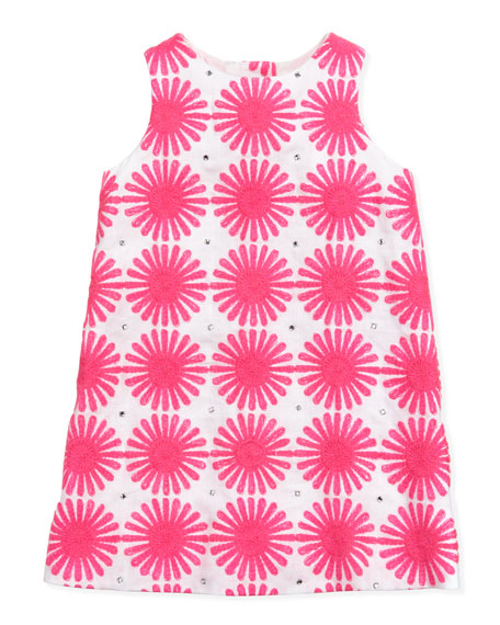 Flower Power Linen Shift Dress, Pink, Sizes 2-6