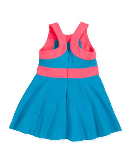 Ponte Circle Sleeveless Dress, Aqua/Pink, Sizes 8-10