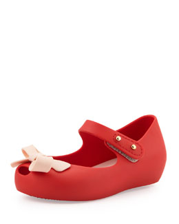 Melissa Shoes Mini Ultragirl Bow Jelly Flats, Red