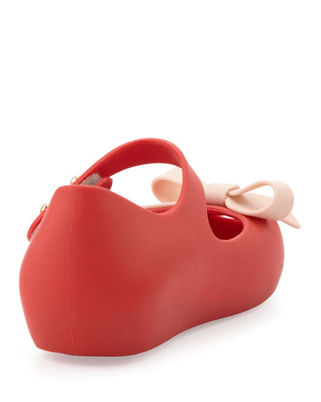 Mini Ultragirl Bow Jelly Flats, Red