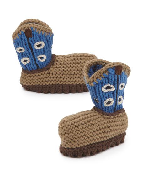Crochet Cowboy Baby Booties, Blue