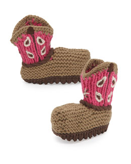 Art Walk Crochet Cowboy Baby Booties, Blue