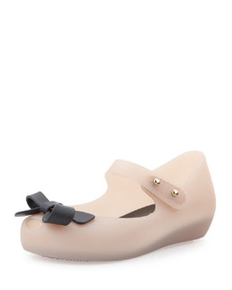 Melissa Shoes Mini Ultragirl Bow Jelly Flats, Pink/Black