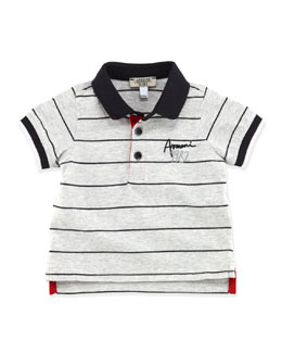 Armani Junior Infant Boys' Striped Logo Polo, Gray, 3-24 Months