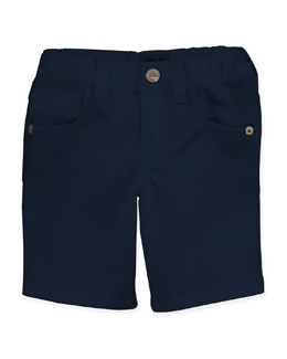 Armani Junior Stretch-Gabardine Shorts, Navy, Boys' 2-8