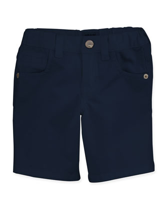 Stretch-Gabardine Shorts, Navy, Boys' 2-8