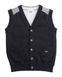 Armani Junior Knit Button-Down Vest, Navy, 2Y-8Y