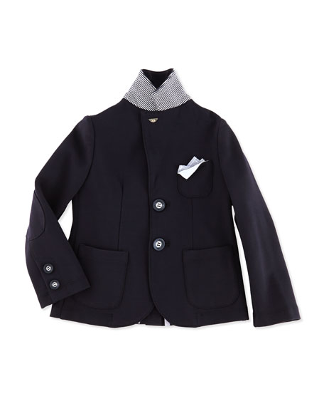 Soft Stretch-Jersey Blazer, Navy, 2Y-8Y