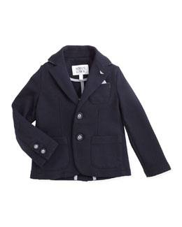 Armani Junior Soft Stretch-Jersey Blazer, Navy, 2Y-8Y