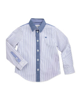 Armani Junior Striped Button-Down Shirt, Blue, Sizes 2-8