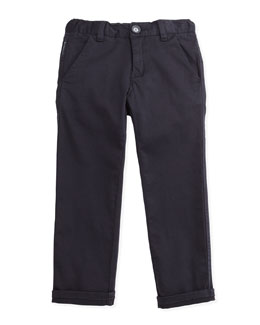 Armani Junior Twill Dress Pants, Navy, 2Y-8Y
