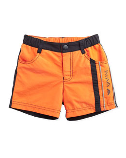 Armani Junior Bicolor Swim Trunks, Orange/Black