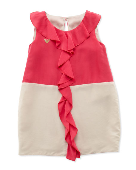 Ruffle-Front Colorblock Dress, Multi, Sizes 2-8