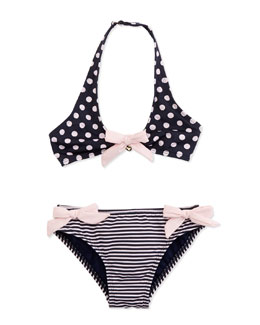 Armani Junior Stripe & Polka-Dot Two-Piece Swimsuit & Headband Set, Sizes 2-8