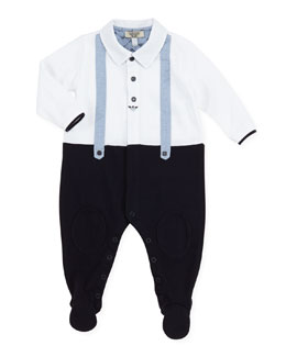 Armani Junior Faux-Suspender Twofer Footie Playsuit, 1m-12m