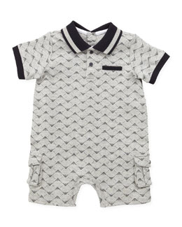 Armani Junior Allover-Logo Shortall, Gray, 1m-12m