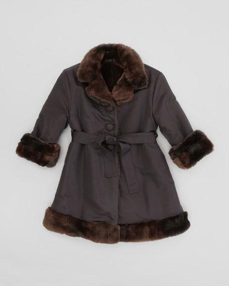 Reversible Faux-Fur Coat, Black/Brown, 2T-3T