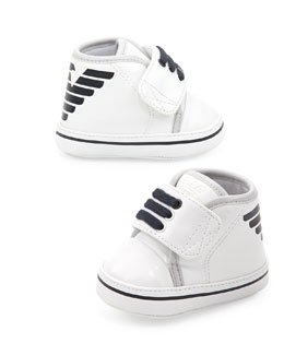 Armani Junior Logo High-Top Baby Booties, White/Blue