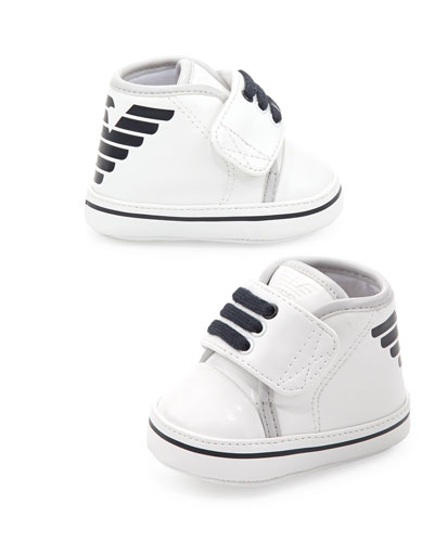 Logo High-Top Baby Booties, White/Blue