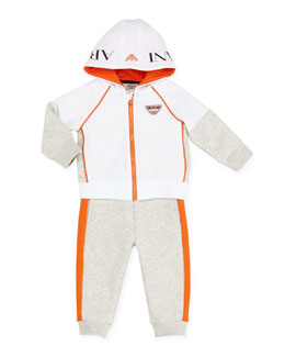 Armani Junior Two-Piece Track Suit, Orange/White/Gray, 3-24 Months