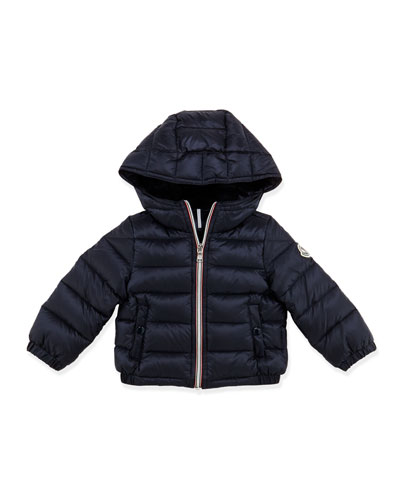 Moncler Dominic Stripe-Front Hooded Jacket, Navy, 3-24 Months