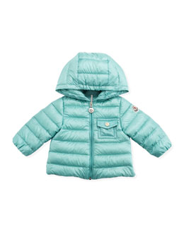 Moncler Milou Long Season Packable Jacket, Turquoise, 3-24 Months