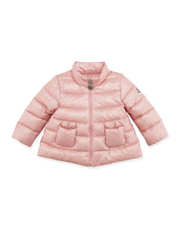 Moncler Joelle Quilted Tech Jacket, Light Pink, 3-24 Months
