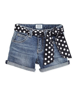 Armani Junior Denim Shorts with Polka-Dot Belt, Sizes 2-8