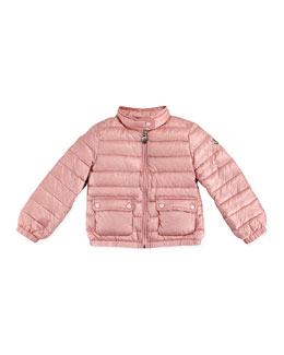 Moncler Lans Quilted Tech Jacket, Light Pink, Sizes 2-6