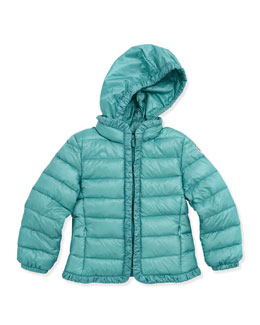 Moncler Mayotte Long Season Packable Jacket, Turquoise, Sizes 2-6