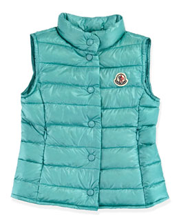 Moncler Liane Long Season Packable Vest, Turquoise, Sizes 2-6