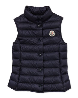 Moncler Liane Long Season Packable Vest, Navy, Sizes 8-10