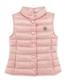 Moncler Liane Long Season Packable Vest, Pink, Sizes 2-6