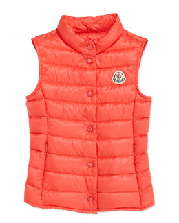 Moncler Liane Long Season Packable Vest, Fuchsia, Sizes 8-10