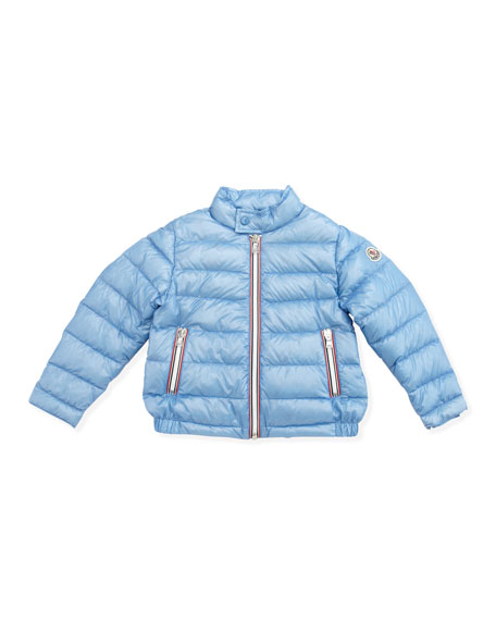 Rigel Stripe-Placket Packable Jacket, Light Blue, Sizes 2-6