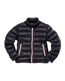 Moncler Rigel Stripe-Trim Quilted Jacket, Navy, Sizes 8-10