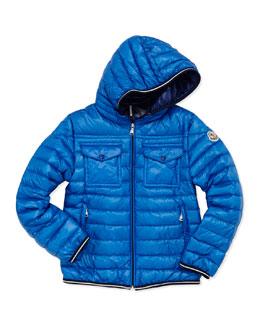 Moncler Clovis Hooded Quilted Jacket, Navy, Sizes 8-10