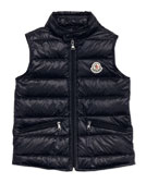 Moncler Gui Lightweight Puffer Vest, Navy, Sizes 2-6