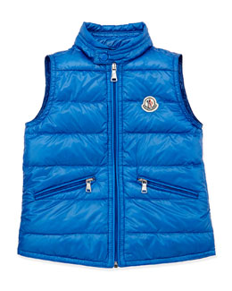Moncler Gui Lightweight Puffer Vest, Blue, Sizes 8-10