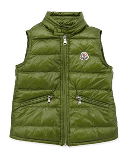 Moncler Gui Lightweight Puffer Vest, Dark Green, Sizes 2-6