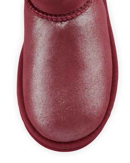 Classic Glitter Boot, Youth, Red Plum
