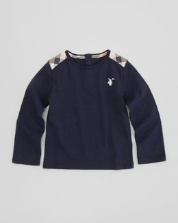 Burberry Boys' Check-Shoulder Long-Sleeve Tee, Navy, 12-18 Months